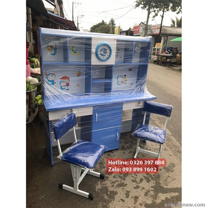 Bộ Bàn Học Đôi 1m4 Bằng Nhựa Có Kệ Sách Cho Bé Trai 1
