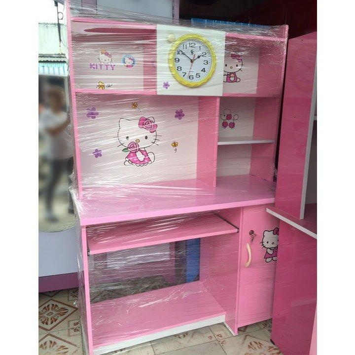 Bàn học giá rẻ có kệ sách nhựa đài Loan màu hồng 1