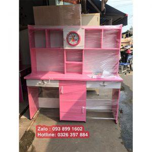 bàn học đôi bằng nhựa màu hồng