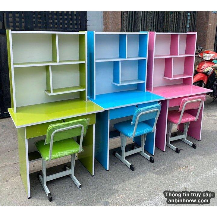 Bộ bàn ghế học sinh 80cm gỗ Okal có kệ sách 1