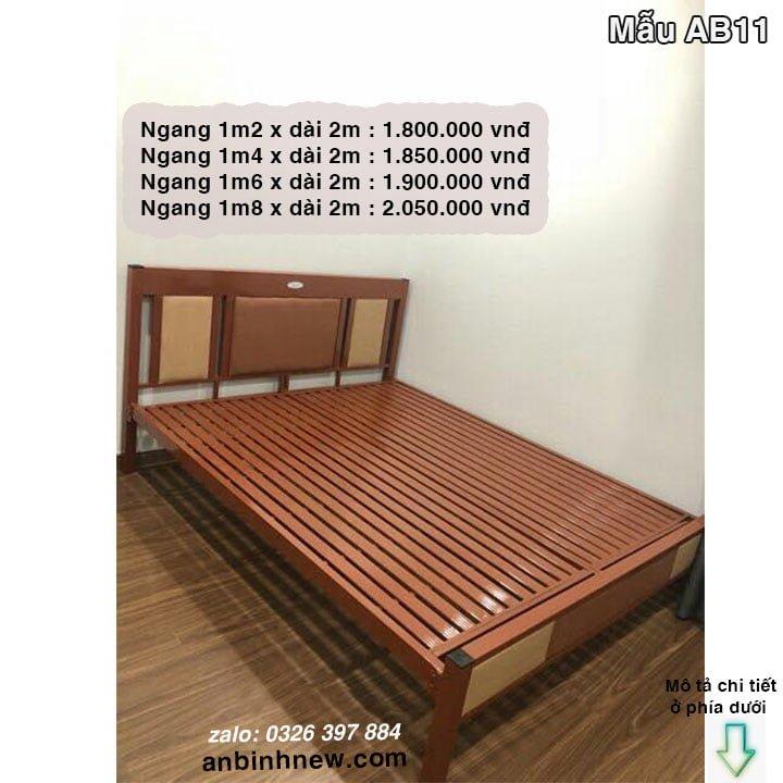Giường ngủ sắt giá rẻ 1m2, 1m4, 1m6, 1m8 x dài 2m 10