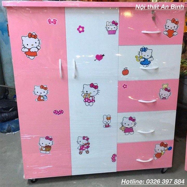 Tủ nhựa đựng quần áo mẫu màu hồng 1