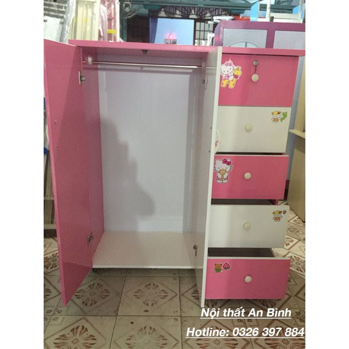 Tủ nhựa đựng quần áo mẫu màu hồng 3