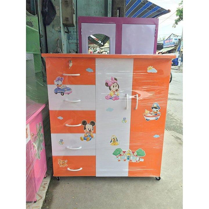 Tủ quần áo bằng nhựa Đài Loan cao cấp màu cam