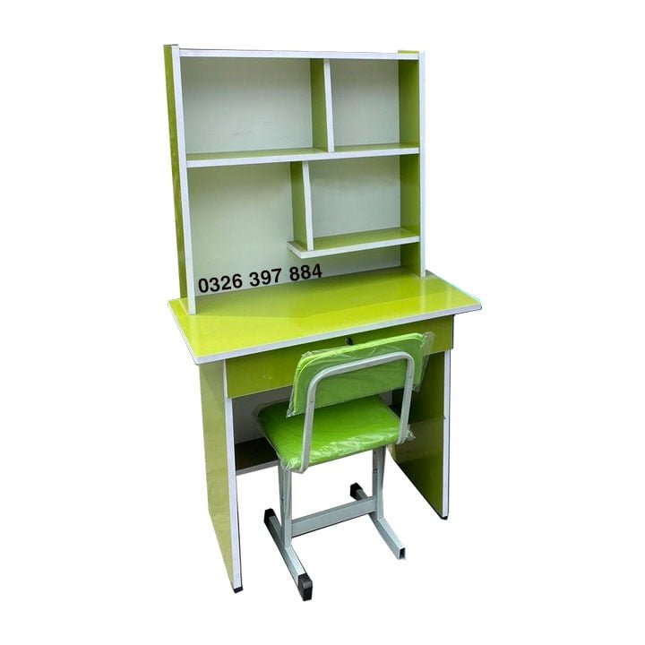 Bộ bàn ghế học sinh 80cm có kệ sách màu xanh lá