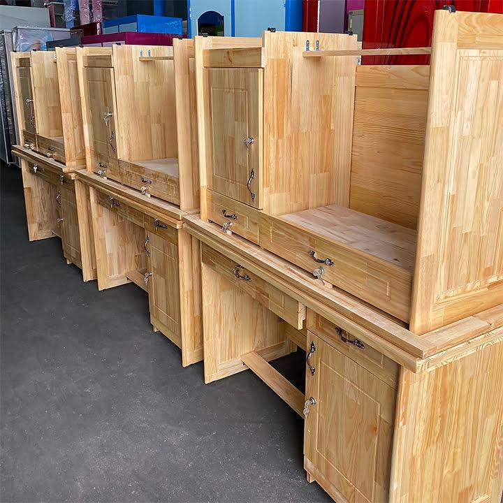 Bàn học, bàn vi tính gỗ thông tự nhiên có hộc 2
