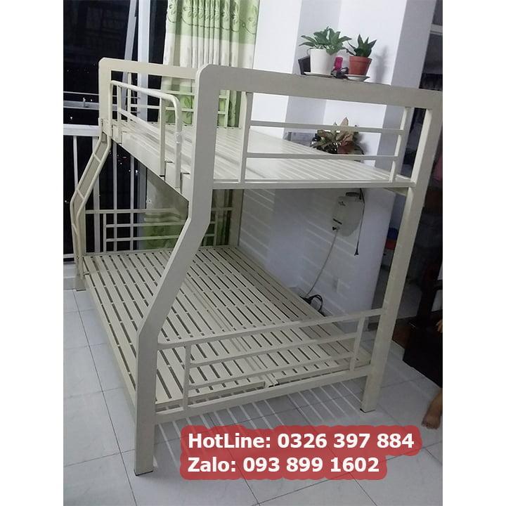 Giường tầng sắt hộp vuông 3x6 cao cấp 1m, 1m2, 1m4, 1m6, 1m8 - kiểu sọc đan 4