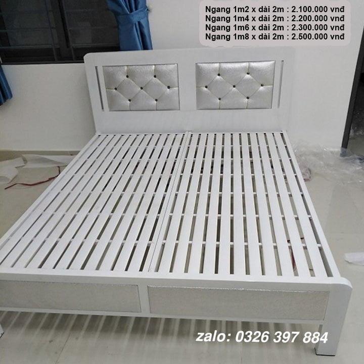 Giường ngủ sắt giá rẻ 1m2, 1m4, 1m6, 1m8 x dài 2m 12