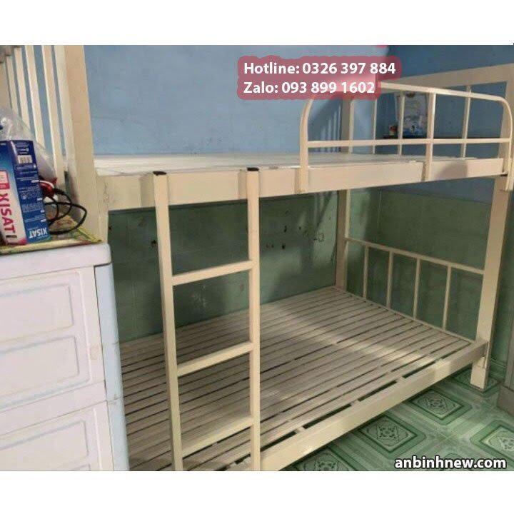 Giường ngủ 2 tầng bằng sắt hộp 4x8 giá rẻ An Bình New 3