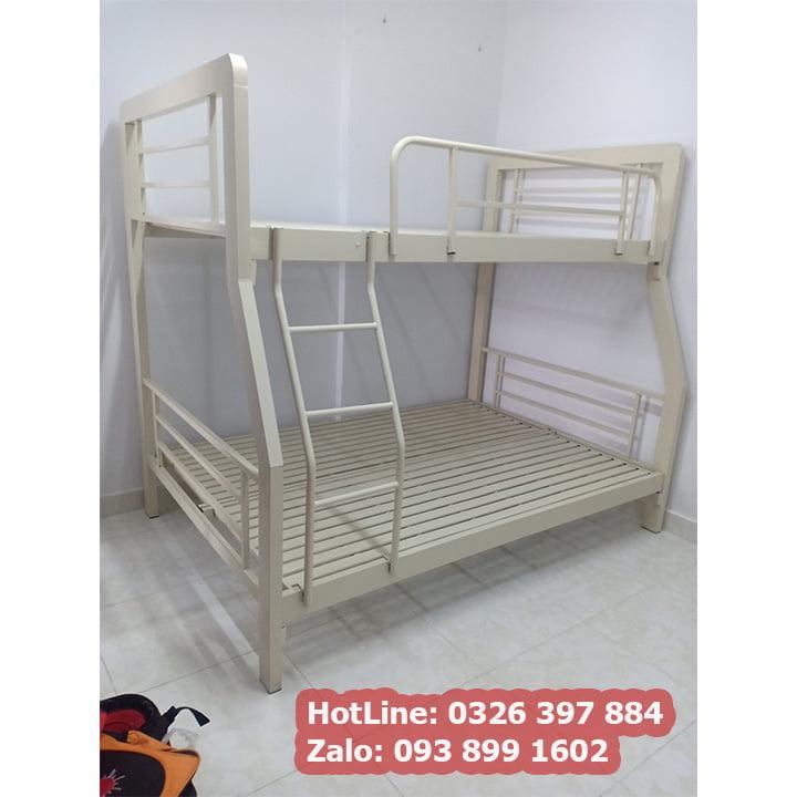Giường sắt 2 tầng cao cấp kích thước đa dạng màu kem đẹp nhất