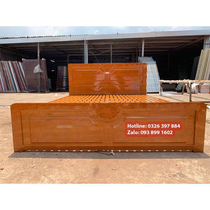 Giường sắt 1m4 x 2m kiểu gỗ 3
