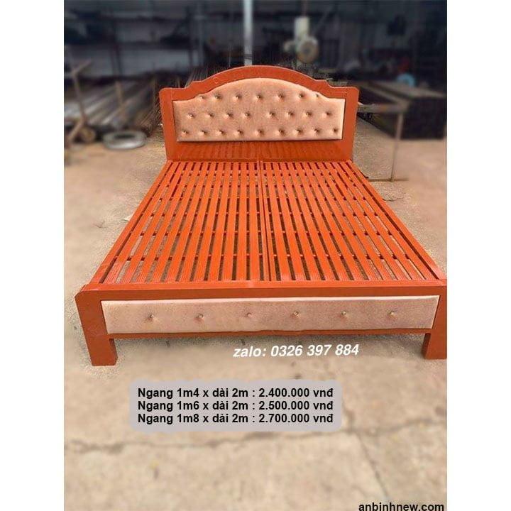 Giường ngủ sắt giá rẻ 1m2, 1m4, 1m6, 1m8 x dài 2m 4