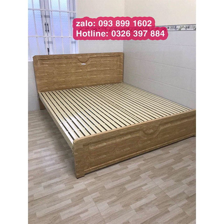 Giường sắt 1m4 x 2m kiểu gỗ