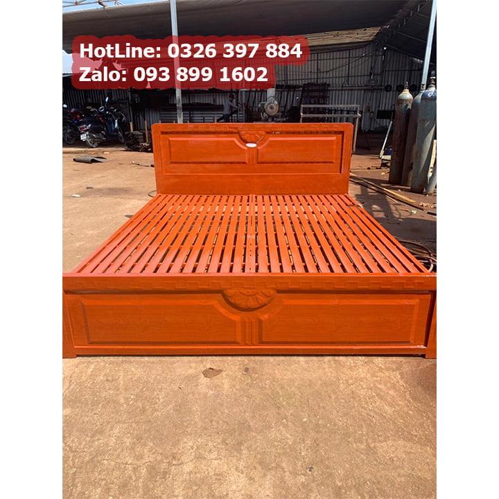 Giường sắt 1m4 x 2m kiểu gỗ 6