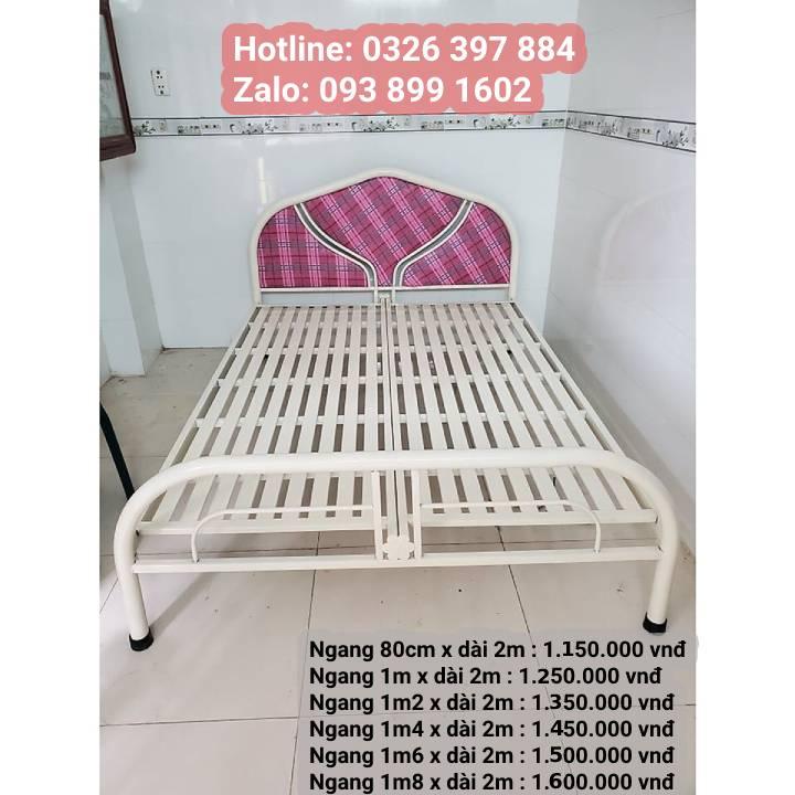 Giường ngủ sắt giá rẻ 1m2, 1m4, 1m6, 1m8 x dài 2m 17