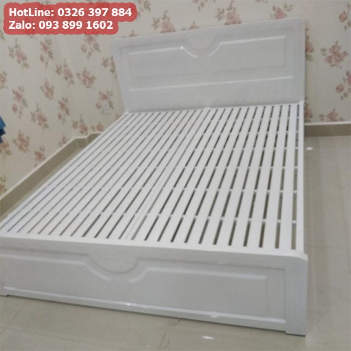 Giường sắt 1m4 x 2m kiểu gỗ 5