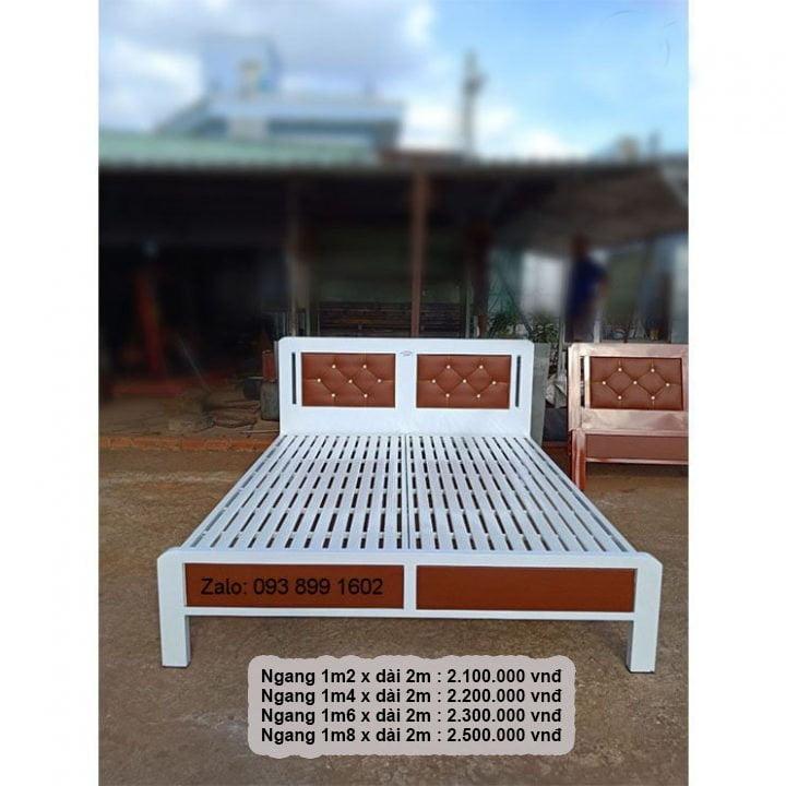 Giường ngủ sắt giá rẻ 1m2, 1m4, 1m6, 1m8 x dài 2m 15