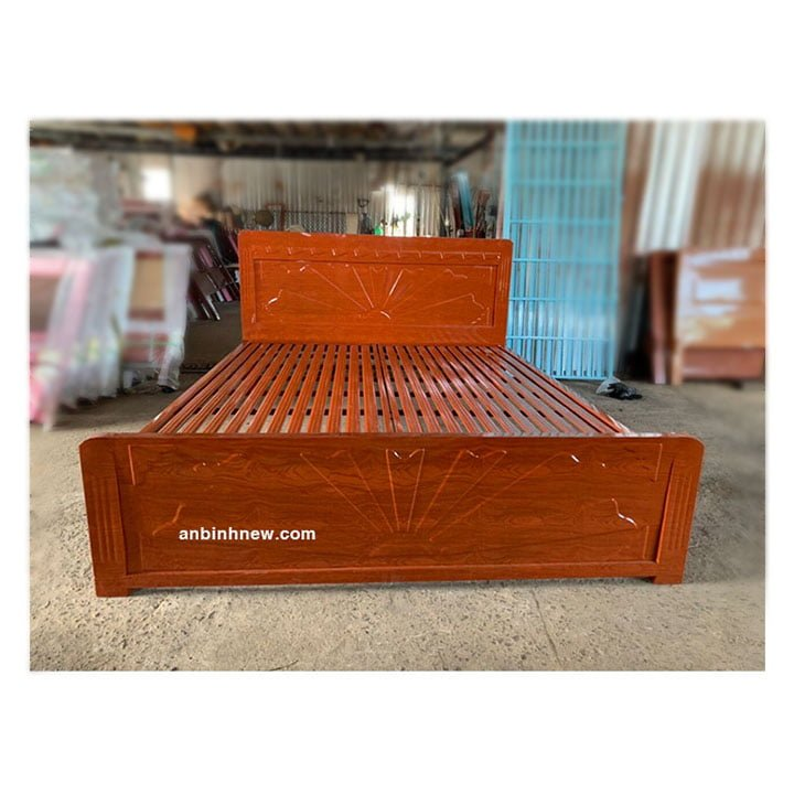 Giường sắt kiểu gỗ 1m6 x 2m An Bình