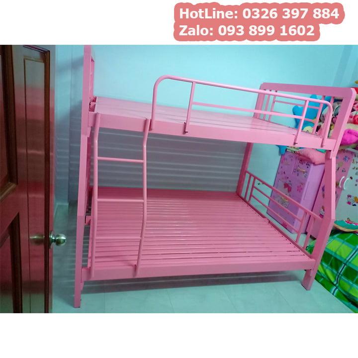 Giường tầng sắt tpHCM cao cấp hộp 4x8 màu hồng công chúa đẹp nhất 3