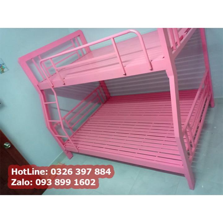 Giường tầng sắt tpHCM cao cấp hộp 4x8 màu hồng công chúa đẹp nhất 2