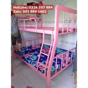 GIường tầng màu hồng cho bé gái