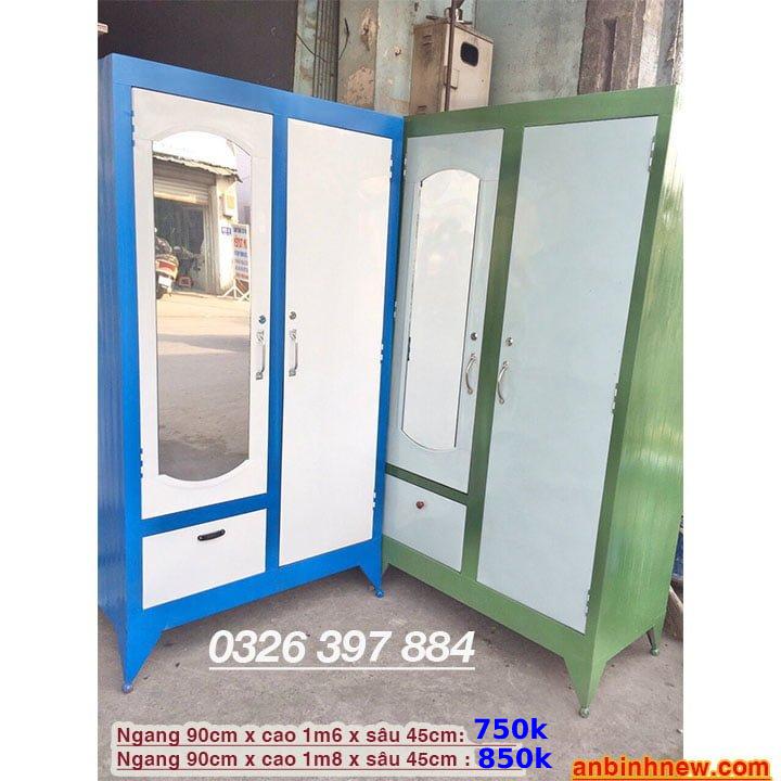Tủ đựng quần áo bằng sắt giá rẻ ngang 90cm x cao 1m6 đến 1m8 1