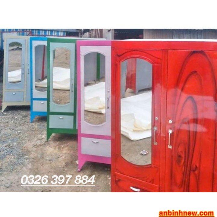 Tủ đựng quần áo bằng sắt giá rẻ ngang 90cm x cao 1m6 đến 1m8 3