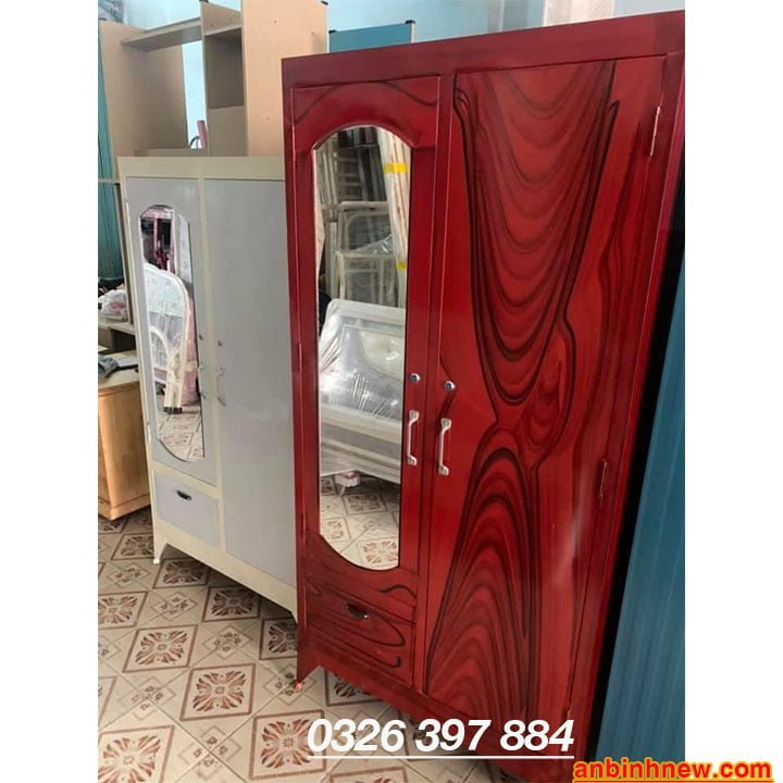 Tủ đựng quần áo bằng sắt giá rẻ ngang 90cm x cao 1m6 đến 1m8 2