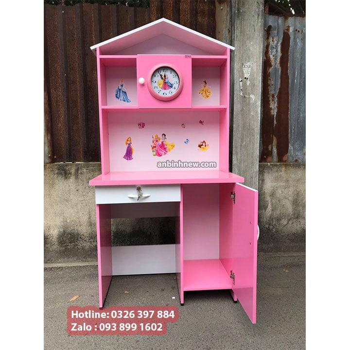 Bàn học màu hồng cho bé gái, có kệ sách bằng nhựa Đài Loan, ngang 80cm 1