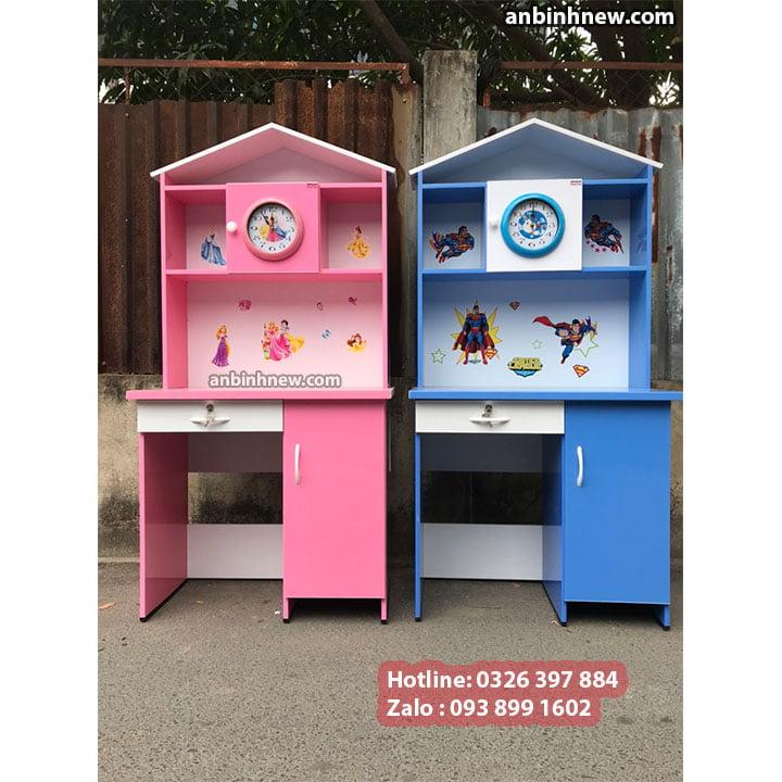 Bàn học màu hồng cho bé gái, có kệ sách bằng nhựa Đài Loan, ngang 80cm 7