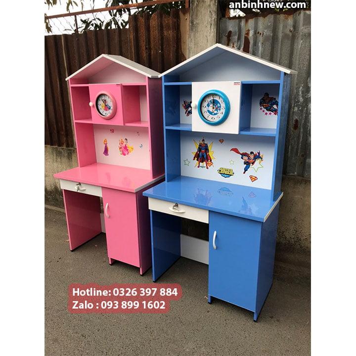 Bàn học màu hồng cho bé gái, có kệ sách bằng nhựa Đài Loan, ngang 80cm 6