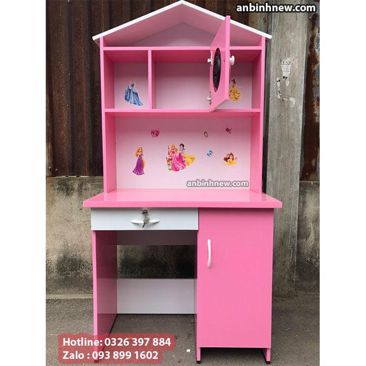 Bàn học màu hồng cho bé gái, có kệ sách bằng nhựa Đài Loan, ngang 80cm 2