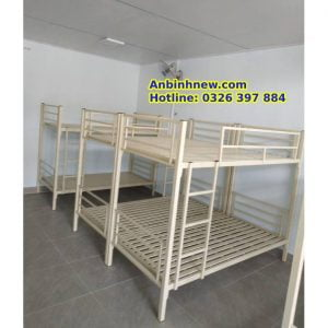giường tầng kí túc xá sắt hộp vuông loại bằng tầng