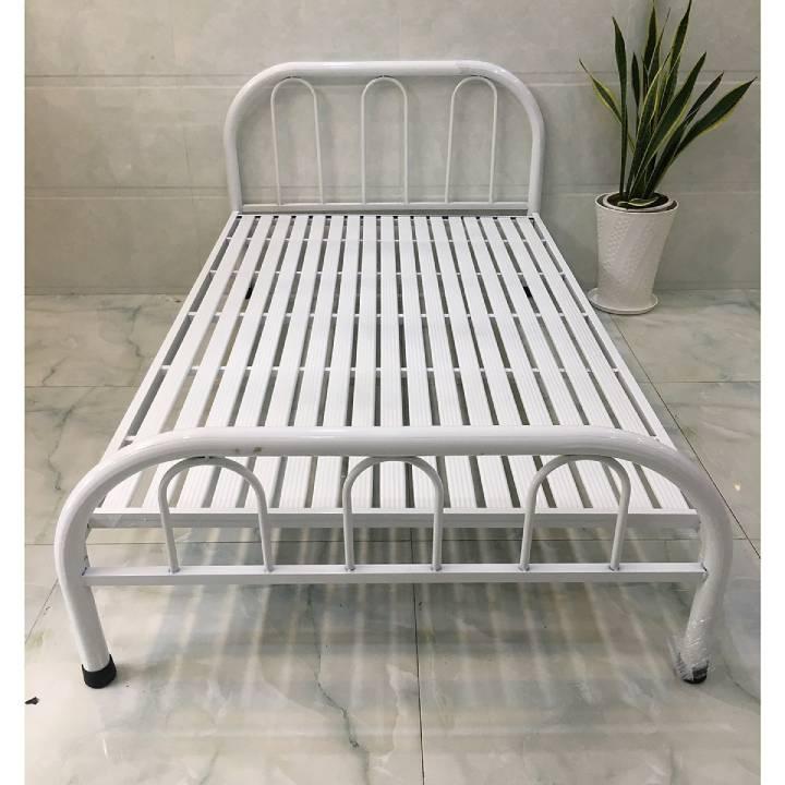 Giường sắt cách điệu đơn giản màu trắng giá rẻ