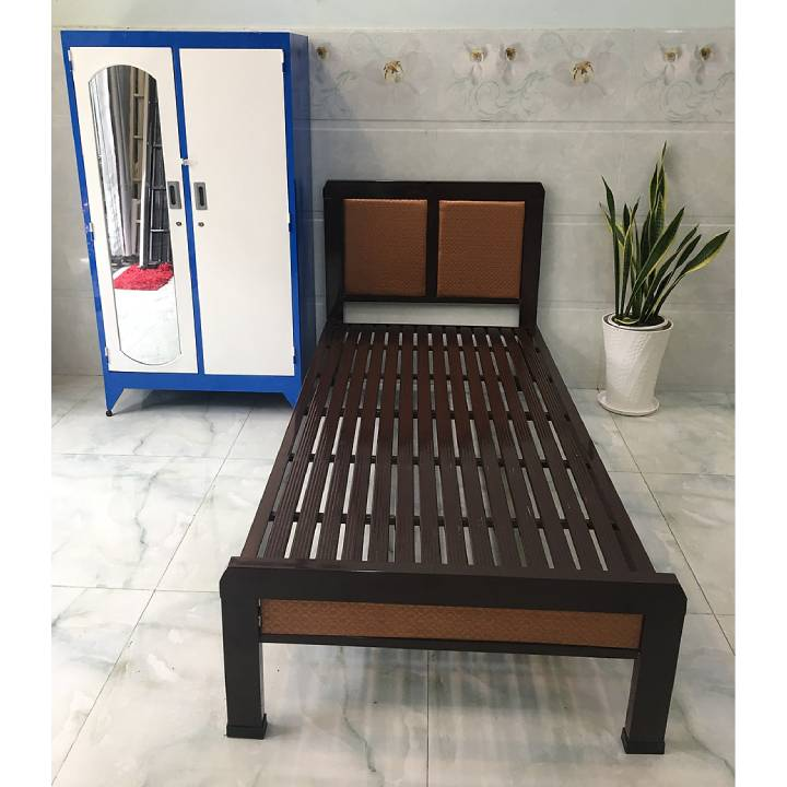 Giường ngủ sắt kiểu gỗ giá rẻ 1, 2 người nằm