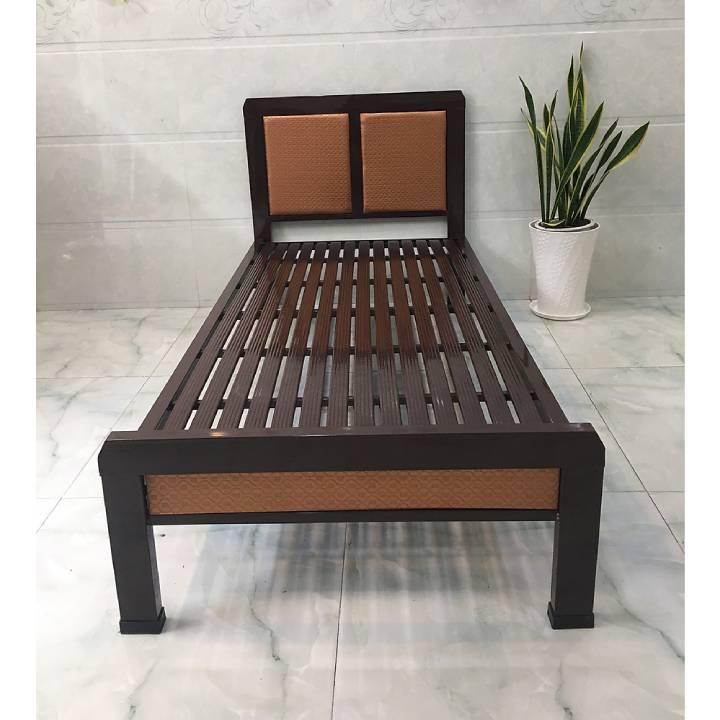 Giường ngủ sắt kiểu gỗ giá rẻ 1, 2 người nằm 1