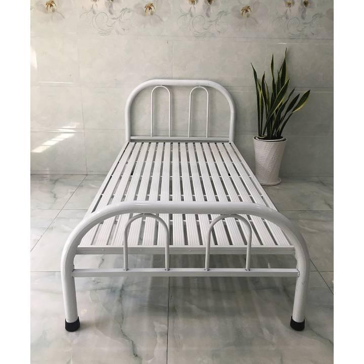Giường sắt cách điệu đơn giản màu trắng giá rẻ 2