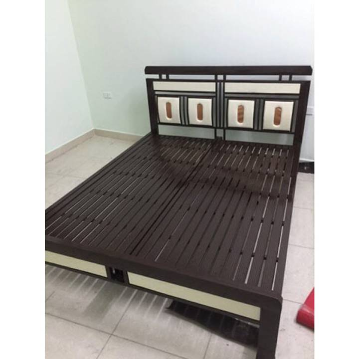 Giường sắt mỹ thuật giá rẻ màu nâu đẹp _ sắt hộp đèn 1