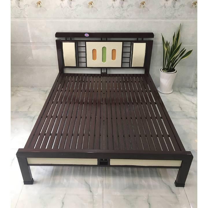 Giường sắt mỹ thuật giá rẻ màu nâu đẹp _ sắt hộp đèn